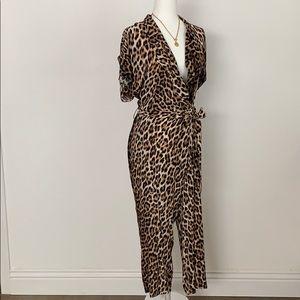 New Zara small jumpsuit wrap bow leopard animal
